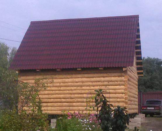Сруб дачного домика 6х5 с чердачной крышей (металлочерепица) + фундамент